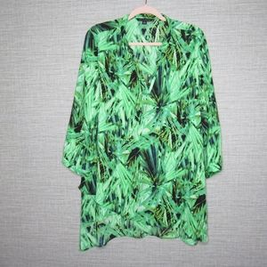 Zac & Rachel Sz XL Green Tropical Print Blouse